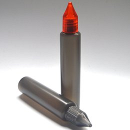 Empty Black Pen Shape Bottles Long Slim 30ml Plastic Dropper Bottle with Colorful Cap E Liquid Bottle