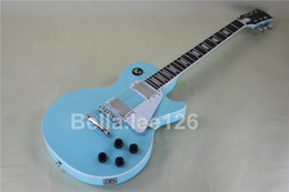 Wholesale guitar,light blue color, gold tuners,passive pickups, standard electric guitar with one piece wood neck and body