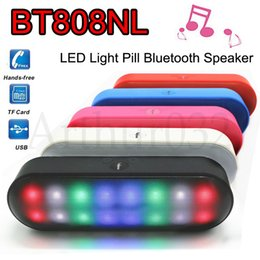 Wholesale BT808NL Mini Speakers Beautiful LED Flash Light Stereo Portable Wireless Bluetooth Speaker Pulse TF USB FM Music MP3 Player BT808 Piill XL