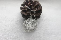 Wholesale antique silver bronze Harry Potter Necklace Hogwarts Express Station Platform charm Pendant Necklace