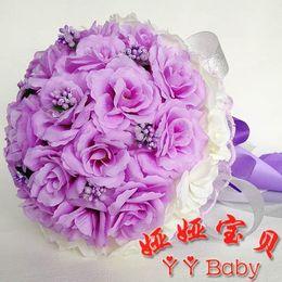 Wholesale 2016 Purple Bouquets for Brides Bridesmaids Junior Bridesmaids Flower Girl Bouquets Lovely Purple Hand Bouquets Cheap Price Artificial Rose