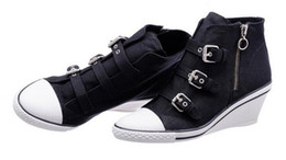 Wholesale Ash Gin Bis Buckled Canvas Wedge Ankle Boots Black Fashion Women s Sneakers Ankle Boots On Hot Sale Tide Jeans Casual Sport Shoes Size