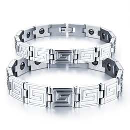 Stainless Steel Couples Energy Stone Health Bracelet with Great Wall Design