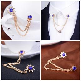 British fashion chain collar navy wind rudder chain brooch shirt collar collar pin decorations West Accessories