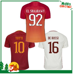 Promotion maillots de sport 16 17 Rome football TOTTI DZEKO Hommes Sports Broderie DE ROSSI Jersey 2016 2017 chemises Roma Football