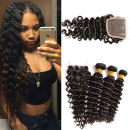 Brazilian Deep Wave With Closure 3pcs Hair Bundles With Lace Closures Brazilian Deep Curly Human Hair 4pcs lot Queen Best Hair