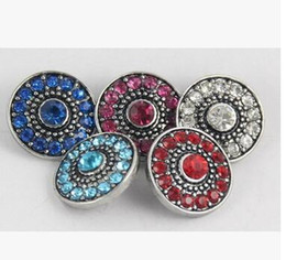 5 colors DIY handmade zinc alloy noosa chunks full rhinestone 18mm 20mm giner button snap button noosa button fit snap bracelet necklace