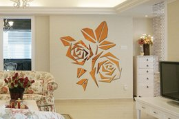 Wholesale Mirror wall stickers living room bedroom sofa TV background decorative paper flowers D stereoscopic Rose new European and American