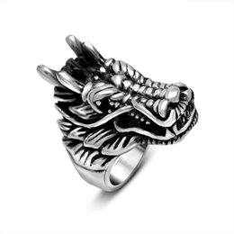 Wholesale vintage Red Black Null eye Dragon sale titanium stainless steel animal ring punk men jewelry STR7