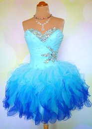 Beaded Crystal Organza Prom Dress With Ruffles Short 2016 Sweetheart Prom Gowns Elegant Party Gowns Lace Up
