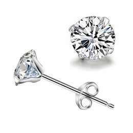 925 sterling silver jewelry stud earrings length 12mm for women with White zircon factory price sale in wholesale