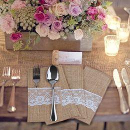 Wholesale 10pcs Burlap Pouch Bag Cutlery Lace Holder Hessian Decoration Rustic Jute Favors Tableware Party Bucket for Wedding Party Home Decor