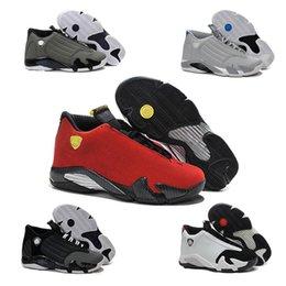 Promotion chaussures de sport pas cher 2016 pas cher rétro air 14 hommes Chaussures de basket dernier coup orteil noir rouge suède Sport Sneakers Chaussures gs Retro retro 14 Athletics Bottes