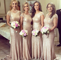 New Arrival Elegant Gold Sequins Mermaid Long Formal Bridesmaid Dress 2019 Short Sleeve Wedding Gown From Evening