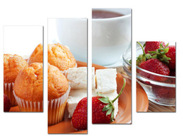 Wholesale LK4231 Panel Oil Paintings Cake Food And Strawberry Fruit Wall Art Wrapped Canvas Paintings On Canvas Home Decor Unframed Framed x47Inch