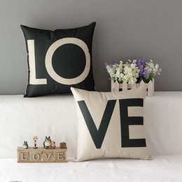 45cm Black and Red Couples Love Cotton Linen Fabric Throw Pillow 18inch Handmade New Home Office Bedroom Decoration Sofa Back Cushion