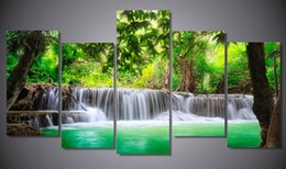 2016 New style Unframe Printed green tropical waterfall Painting children's room decor print poster picture canvas Free shipping