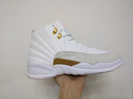 Wholesale Cheapest Men Retro Air XII OVO Drake Official Sample Promo Player Exclusive Summit White Gold Metallic Basketball Shoes With Original Box