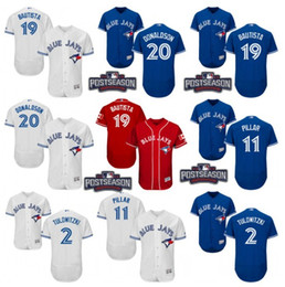 Wholesale 2016 Postseason Patch Men s Toronto Blue Jays Tulowitzki Encarnacion Josh Donaldson Bautista Pillar baseball jerseys Stitched