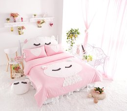 Wholesale New cotton Princess applique embroidery cartoon cat bedding set bed skirt twin full queen king size