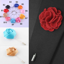 Hot Sale Ribbon Lapel Flower Rose Handmade Boutonniere Brooch Pin Men's Accessories Brooches Pins Jewelry Wholesale 0401WH