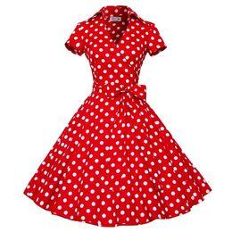 50S 60S Audrey Hepburn Dress 2015 New Women Long Sleeve Polka Dot Bowknot Big Swing Dress Retro Vintage Rockabilly Mini Dress