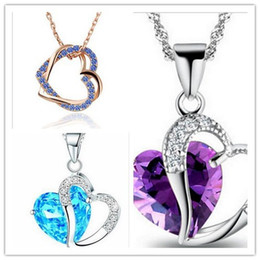 Wholesale Solid Gold Jewelry Wholesalers - NEW Solid 925 Silver Love Pendant Amethyst Crystal Charm Fit Necklace Jewelry Mixed Style Free Shipping