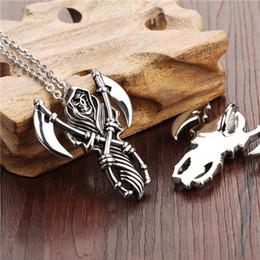 Wholesale death scythe skull domineering titanium steel casting pendant necklace men send her boyfriend GX972