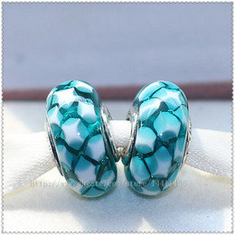 5pcs 925 Sterling Silver High Quality Screw Core Teal Murano Glass Bead Fits European Pandora Jewelry Charm Bracelets Necklaces & Pendants