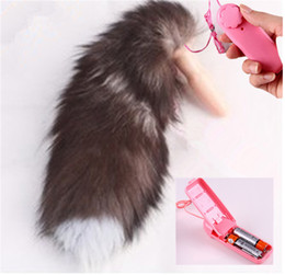Wholesale Sex Vibrating Fox Tail Anal Plug Silicone Butt Plug With Vibrator Adult Toys