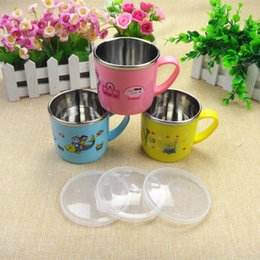 Wholesale pink yellow blue baby Medical grade stainless steel cups baby preventing hot cups