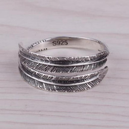 Solid 925 Sterling Silver For Women Thai Silver Ring Feather Ladies Adjustable Vintage Punk Fashion Retro Antique Accessories