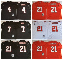 Wholesale Stitiched Atlanta jerseys Falcons Michael Vick Deion Sanders brett favre Throwback for men jerseys real photo