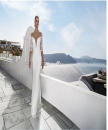 Wholesale Modern Wedding Dresses Amazing Mermaid Wedding Gowns Sexy Beach Bridal Wear V neck Floor Length Custom Made