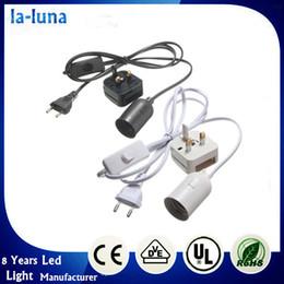 Wholesale Lamp holder E27 M Plug In Light Socket Switch Cable Vintage Antique Household lamp base EU UK Plug AC110 V White Black