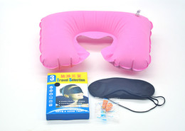 Wholesale 1 Set in1 Travel U shaped Pillow Flocking Inflatable Neck Air Cushion Pillow Eyeshade with Ear Plug Advertising Gifts by DHL