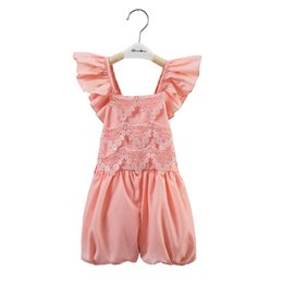 Wholesale Baby Girls One Pieces Lace Romper New Summer Rose Floral Cotton Romper Sling Leggings baby summer lace bodysuit