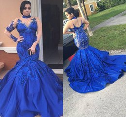 Plus Size High Neck Mermaid Evening Gowns Beads Lace Appliques Illusion Long Sleeves Prom Dress Open Back Celebrity Cocktail Gowns