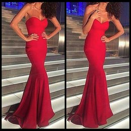 Simple Elegant Sweetheart Floor Length Long Red Mermaid Prom Dress Cheap Prom Gowns 2016 Formal Party Dress