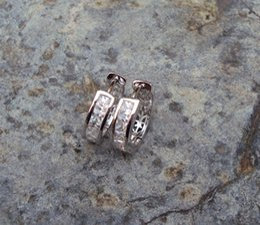 FREE SHIPPI Exquisite jewelry 10kt white gold Topaz Fine Swarovski Crystal CZ diamond girl Wedding earring gift low price wholesale 1PCS Con
