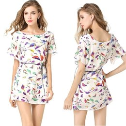 Wholesale 2 Colors Plus Size Women Chiffon Dress Bird Print O Neck Short Bat Sleeve Mini Dress Floral Print Dresses Vestidos with Belt