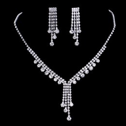 Wholesale 2017 the bride high grade foreign trade silver jewelry fashion rhinestone suits tassel romantic bride necklace earrings adorn article
