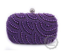 Wholesale-New 2016 purple pearls evening bags blue black grey beaded clutch bag wedding bridal clutches party dinner purse chains handbag