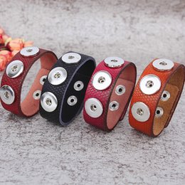 REALLY Wholesale Mix Color Noosa With 18 mm Zinc Alloy Snap Button Pu Leather Replaceable Bracelets Free Shipping