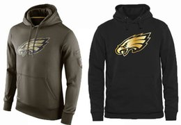 Wholesale Men s Eagles Black Gold Collection Pullover Hoodie Olive Green Philadelphia American Football Pullover Sweatshirts