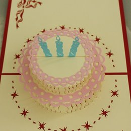 3 in Lot 3D POP UP Handmade Birthday  Gift  Greeting Card with Cake, Flower & Candle Decoration
