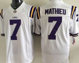 Wholesale 2015 LSU Tigers Tyrann Mathieu Men s White Purple College Football Jerseys Good Quality jerseys Size M XXXL