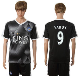 Wholesale 2016 Leicester City Black Soccer Jerseys Brand Soccer Sets Cheap Soccer Sportswears Hot Sale All Teams Outdoor Wears