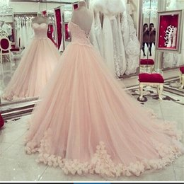 Wholesale 2016 Pink Quinceanera Dresses Sweetheart Applique Lace Sweet Dresses Plus Size Prom Dresses Hot Sale Masquerade Ball Gown Dresses Cheap