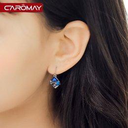 Wholesale Kalome S925 silver jewelry colorful Aurora crystal earrings earrings Korean fashion decoration leisure female temperament